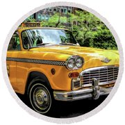 New York City Yellow Checker Taxicab Round Beach Towel
