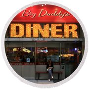 New York Diner 1 Round Beach Towel