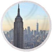 New York Empire State Building Round Beach Towel