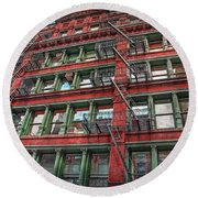 New York Fire Escapes Round Beach Towel