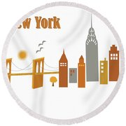 New York Horizontal Scene - Brooklyn Bridge Round Beach Towel