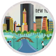 New York Horizontal Skyline - Central Park Round Beach Towel
