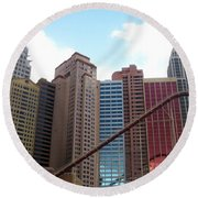 New York Hotel With Clouds Round Beach Towel