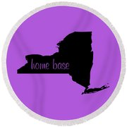 New York Is Home Base Black Round Beach Towel