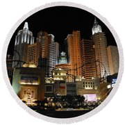 New York Las Vegas Round Beach Towel