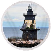 New York Lighthouse-3 Round Beach Towel