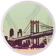 New York Manhattan Bridge Round Beach Towel