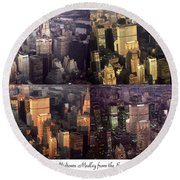 New York Mid Manhattan Medley - Photo Art Poster Round Beach Towel
