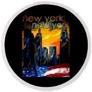 New York Night Skyline Round Beach Towel