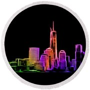 New York Skyline Round Beach Towel by Aaron Berg