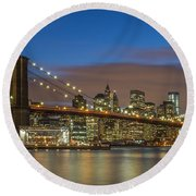 New York Skyline - Brooklyn Bridge - 4 Round Beach Towel
