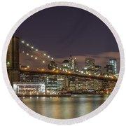 New York Skyline - Brooklyn Bridge - 6 Round Beach Towel