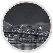 New York Skyline - Brooklyn Bridge Panorama - 4 Round Beach Towel