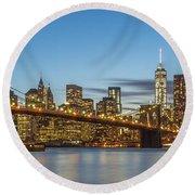 New York Skyline - Brooklyn Bridge Panorama Round Beach Towel