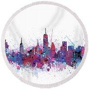 New York Skyline Color Splatter Round Beach Towel