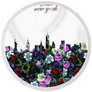 New York Skyline Floral 3 Round Beach Towel