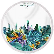 New York Skyline Floral  6 Round Beach Towel