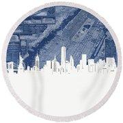 New York Skyline Map 2 Round Beach Towel