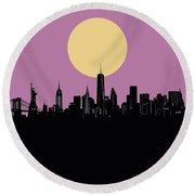 New York Skyline Minimalism Round Beach Towel