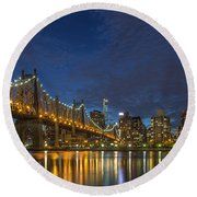 New York Skyline - Queensboro Bridge - 2 Round Beach Towel