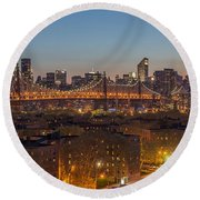 New York Skyline - Queensboro Bridge Round Beach Towel