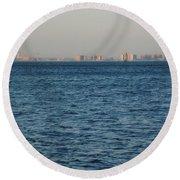 New York Skyline Round Beach Towel by Robbie Masso