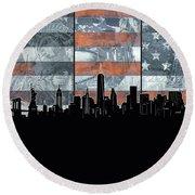 New York Skyline Usa Flag 5 Round Beach Towel