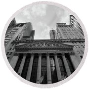 New York Stock Exchange Black And White Round Beach Towel