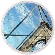 New York Usa  Brooklyn Bridge Towards Manhattan. Round Beach Towel