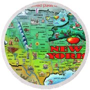 New York Usa Round Beach Towel