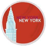 New York Vertical Scene - Chrysler Building Round Beach Towel
