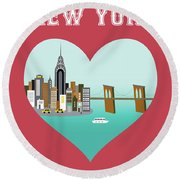 New York Vertical Skyline - Heart Round Beach Towel