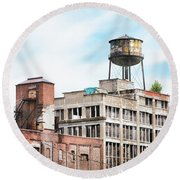 New York Water Towers 18 - Greenpoint Water Tower Round Beach Towel by Gary Heller