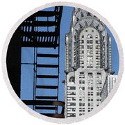 New York Watercolor 3 Round Beach Towel