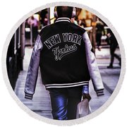 New York Yankees Baseball Jacket Round Beach Towel