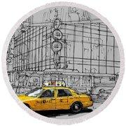 New York Yellow Cab Round Beach Towel