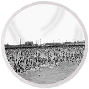 New Yorkers At Coney Island. Round Beach Towel