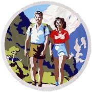 New Zealand Vintage Travel Poster Restored Round Beach Towel