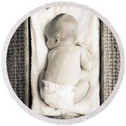 Newborn Baby In Crate Filtered Round Beach Towel