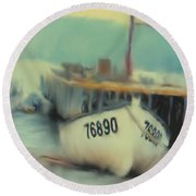 Newfoundland Fishing Port Impressions Round Beach Towel
