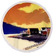 Newfoundland Fishing Shacks Round Beach Towel