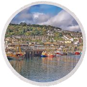 Newlyn Harbour Cornwall 2 Round Beach Towel