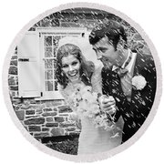 Newlyweds Showered With Rice, C.1960-70s Round Beach Towel
