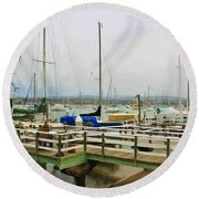 Newport Bay And Balboa Island Round Beach Towel