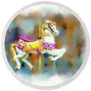 Newport Beach Carousel Horse Round Beach Towel