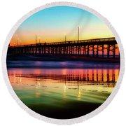 Newport Beach Pier At Sunrise Round Beach Towel