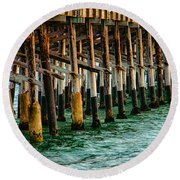 Newport Beach Pier Close Up Round Beach Towel