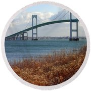 Newport Bridge Newport Rhode Island Round Beach Towel