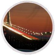 Newport Bridge Twilight Round Beach Towel
