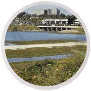 Newport Estuary And Nearby Businesses Round Beach Towel